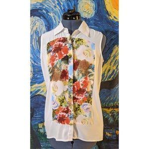 ALI & KRIS Floral Sleeveless Button Front Blouse